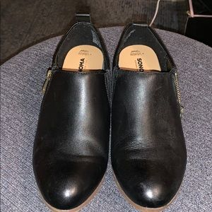 Black low heel dress shoes ( worn once)